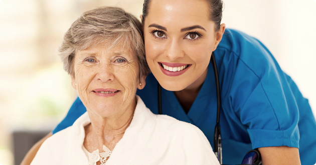 caregiver with an elderly
